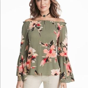 WHBM green floral off the shoulder blouse